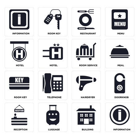 Set Of 16 icons such as Information, Building, Luggage, Reception, Doorknob, Hotel, Room key, service on transparent background, pixel perfect Stock Illustratie