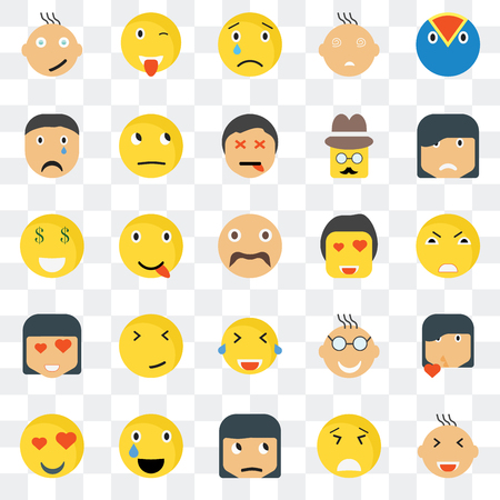 Set Of 25 transparent icons such as Smiling smile, Angry Sad Wink In love Thinking Nerd Rich web UI transparency icon pack, pixel perfect Illustration