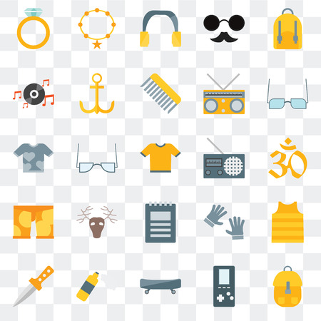 Set Of 25 transparent icons such as Accessory,   Boards, Foam, Dagger, Eyeglasses, Radio, Notepad, Clothing, Long play, Headphones, Accesory, web UI transparency icon pack Stock Illustratie