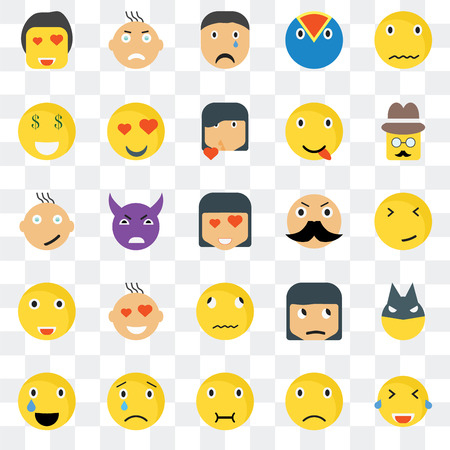 Set Of 25 transparent icons such as Laughing smile, Faint Gentleman Angry Relieved In love Sceptic Happy web UI transparency icon pack, pixel perfect 일러스트