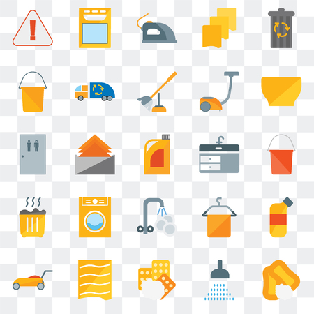Set Of 25 transparent icons such as Soap, Shower, Sponges, Drying, Lawn mower, Bowl, Sink, Washing plate, Waste, Bucket, Iron, Dishwasher, web UI transparency icon pack