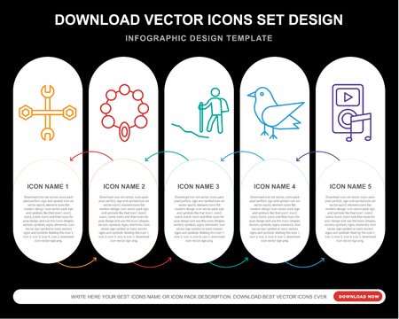 5 vector icons such as Wrench, Bead, Hiking, Bird,  layout, annual report, pixel perfect icon