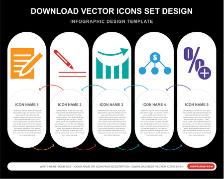 5 vector icons such as Note, Pen writing a, Up arrow business stats graphic, Dollar on top of financial hierarchy, More percentage plus button for infographic, layout, annual report, pixel perfect Illustration