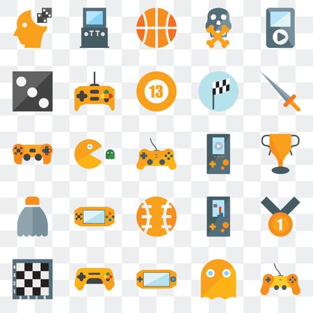 Ensemble de 25 icônes transparentes telles que manette de jeu, fantôme, console, échiquier, épée, lecteur vidéo, ballon, volant, mourir, basket-ball, jeu d'arcade, pack d'icônes de transparence de l'interface utilisateur web