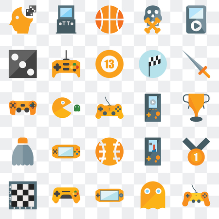 Set Of 25 transparent icons such as Gamepad, Ghost, Console, Chess board, Sword, Video player, Ball, Shuttlecock, Die, Basketball, Arcade game, web UI transparency icon pack