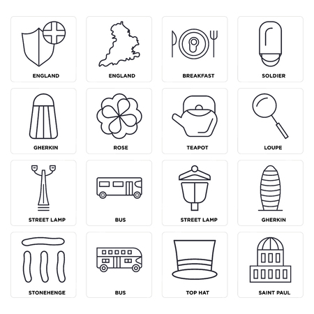 Set Of 16 icons such as Saint paul, Top hat, Bus, Stonehenge, Gherkin, England, Street lamp, Teapot, web UI editable icon pack, pixel perfect Stockfoto - 111886708