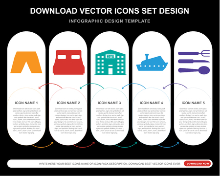 5 vector icons such as Short, Bed, Hotel, Yatch, Cutlery for infographic, layout, annual report, pixel perfect icon Vettoriali
