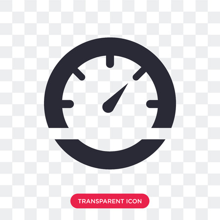 Vehicle speedometer vector icon isolated on transparent background, Vehicle speedometer logo concept