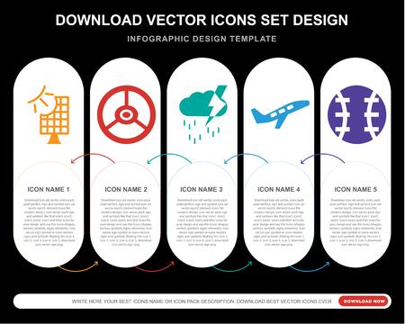 5 iconos vectoriales como panel solar frontal, volante del vehículo, nubes de tormenta, despegue de avión, pelota de béisbol para infografía, diseño, informe anual, icono perfecto de píxeles