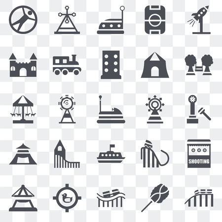 Set Of 25 transparent icons such as Roller coaster, Cotton candy, Shoot duck, Boat, Playground, Fair, Tea cup, Tent, Castle, Bumper car, Childhood, web UI transparency icon pack