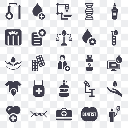 Set Of 25 transparent icons such as Blood donation, Dentist, First aid kit, Dna, Health care, test, Medicine, Soap, Shirt, Weighing scale, Microscope, Blood, web UI transparency icon pack