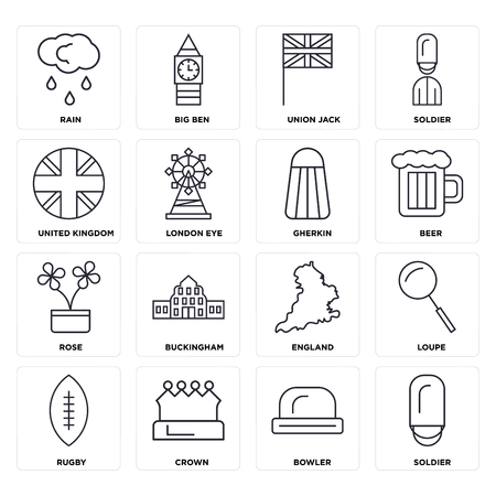 Set Of 16 icons such as Soldier, Bowler, Crown, Rugby, Loupe, Rain, United kingdom, Rose, Gherkin, web UI editable icon pack, pixel perfect Illustration