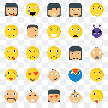 Set Of 25 transparent icons such as Wink smile, Baby Alien Relieved Hipster Happy Superhero web UI transparency icon pack, pixel perfect 일러스트