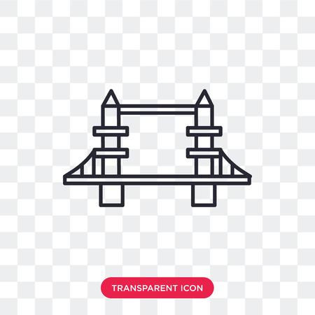 Tower bridge vector icon isolated on transparent background, Tower bridge logo concept