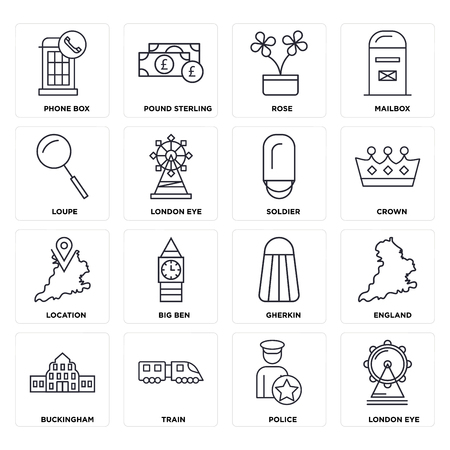 Set Of 16 icons such as London eye, Police, Train, Buckingham, England, Phone box, Loupe, Location, Soldier, web UI editable icon pack, pixel perfect