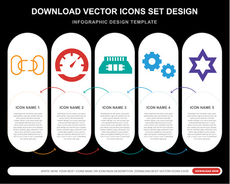 5 vector icons such as Disconnected chains, Vehicle speedometer, Random access memory chip, Gear Option, Star of David for infographic, layout, annual report, pixel perfect icon Vectores