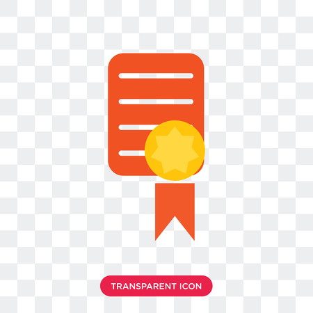 Certificate vector icon isolated on transparent background, Certificate logo concept Vettoriali