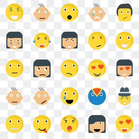 Conjunto de 25 iconos transparentes como Ti smile, Happy Laughing Creepy Gangster Skeptic Web UI transparencia paquete de iconos, pixel perfecto