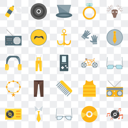 Set Of 25 transparent icons such as Long play, Vinyl, Accessory, Tie, Turntable, Accesory, Bicycle, Comb, Radio, web UI transparency icon pack