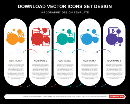 5 vector icons such as Video game, Puzzle, Photo camera, Weight,  layout, annual report, pixel perfect icon Ilustração