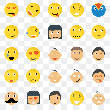 Set Of 25 transparent icons such as Angry smile, Winking Thinking Happy Rich Laughing Relieved web UI transparency icon pack, pixel perfect Illustration