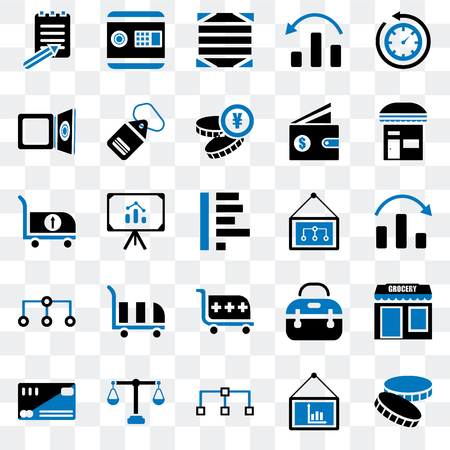 Set Of 25 transparent icons such as Coin, Presentation, Diagram, Justice scale, Cit card, Store, Cart, Safebox, Box, web UI transparency icon pack