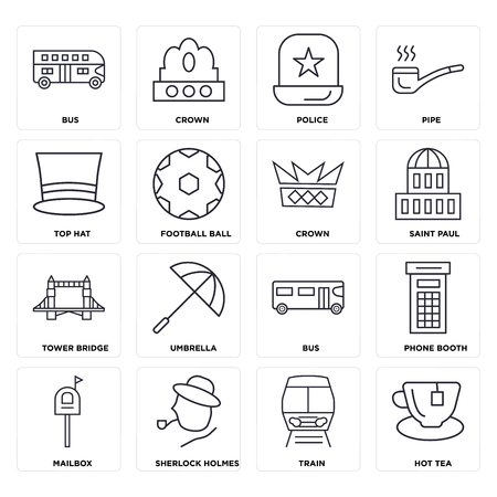 Set Of 16 icons such as Hot tea, Train, Sherlock holmes, Mailbox, Phone booth, Bus, Top hat, Tower bridge, Crown, web UI editable icon pack, pixel perfect