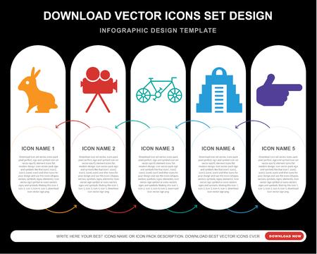 5 vector icons such as Sitting Rabbit, Movie camera, Old Bicycle, Maya pyramid, Finger Gun for infographic, layout, annual report, pixel perfect icon Stock Vector - 111886753