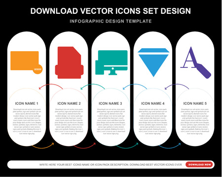 5 vector icons such as Browser, Eps, Devices, Diamond, Text editor for infographic, layout, annual report, pixel perfect icon Illustration