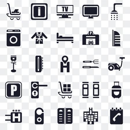 Set Of 25 transparent icons such as Agenda, Hotel, Menu, Doorknob, Burj al arab, Cutlery, Luggage, Parking, Washing machine, Television, Information, web UI transparency icon pack