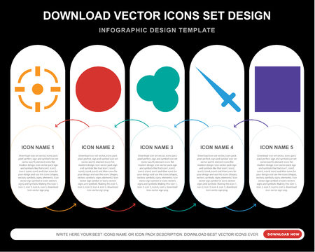 5 vector icons such as Aim, Billiard ball, Snooker, Sword, Dice for infographic, layout, annual report, pixel perfect icon