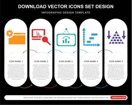 5 vector icons such as Analytics, Data analytics, Pyramid chart for infographic, layout, annual report, pixel perfect icon Illustration