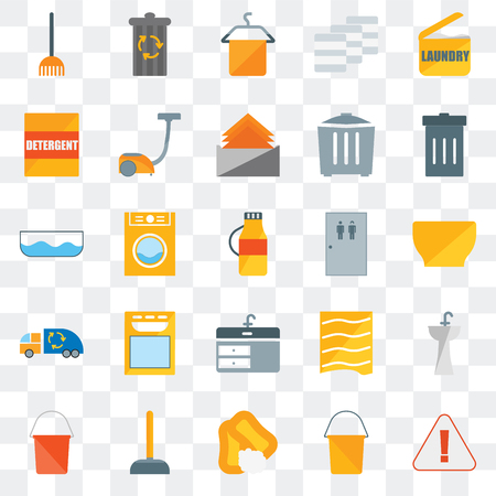 Set Of 25 transparent icons such as Warning, Bucket, Soap, Plunger, Garbage, Toilet, Sink, Garbage truck, Detergent, Towel, Trash can, web UI transparency icon pack