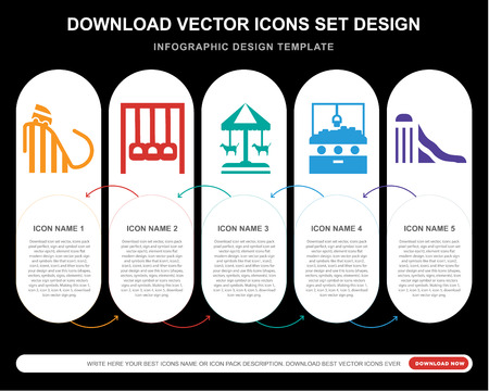 5 vector icons such as Ride, Amusement park, Merry go round, Hook, Slide for infographic, layout, annual report, pixel perfect icon