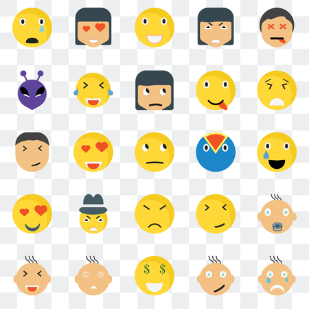 Set Of 25 transparent icons such as Crying smile, Relieved Desperate In love Smiling Laughing Faint Happy web UI transparency icon pack, pixel perfect Stock fotó - 107021303