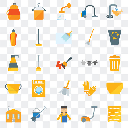 Set Of 25 transparent icons such as Drying, Vacuum, Maid, Mop, House, Garbage, Dry, Feather, Bucket, Dishwasher, Shower, Towel, web UI transparency icon pack