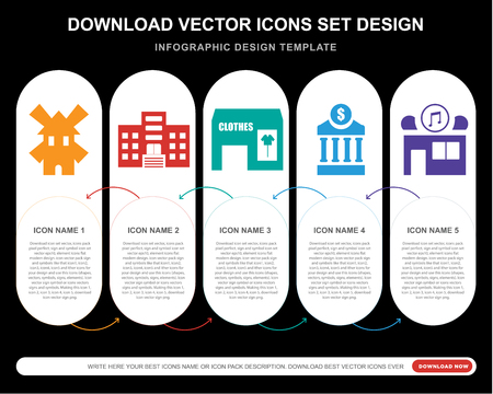 5 vector icons such as Windmill, Building, Clothes, Bank, Music for infographic, layout, annual report, pixel perfect icon