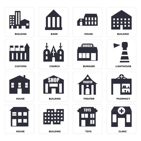 Ensemble de 16 icônes telles que clinique, jouets, bâtiment, maison, pharmacie, douanes, Burguer, pack d'icônes modifiable de l'interface utilisateur web, pixel parfait Vecteurs