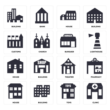 Set Of 16 icons such as Clinic, Toys, Building, House, Pharmacy, Customs, Burguer, web UI editable icon pack, pixel perfect
