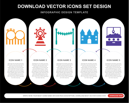 5 vector icons such as Childhood, Fair, Ride, Bouncy castle, Hook for infographic, layout, annual report, pixel perfect icon