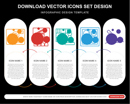 5 vector icons such as   Cinema, Chess, Checkers, Writing for infographic, layout, annual report, pixel perfect icon Çizim