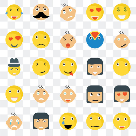 Set Of 25 transparent icons such as Happy smile, Silent Rich Crying Sad Sceptic Gangster web UI transparency icon pack, pixel perfect