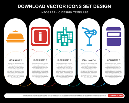 5 vector icons such as Meal, Information, Hotel, Cocktail, Bed for infographic, layout, annual report, pixel perfect icon