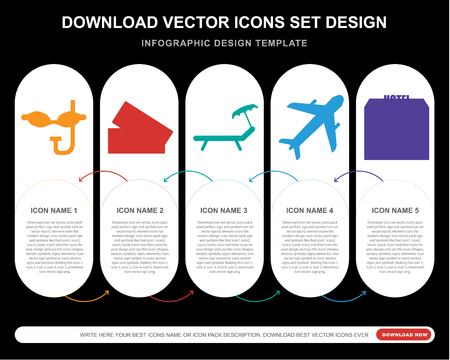 5 vector icons such as Mask, Ticket, Hammock, Airplane, Hotel for infographic, layout, annual report, pixel perfect icon Illustration