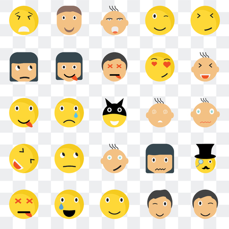 Set Of 25 transparent icons such as Winking smile, Happy Smiling Joyful Dead Sca web UI transparency icon pack, pixel perfect