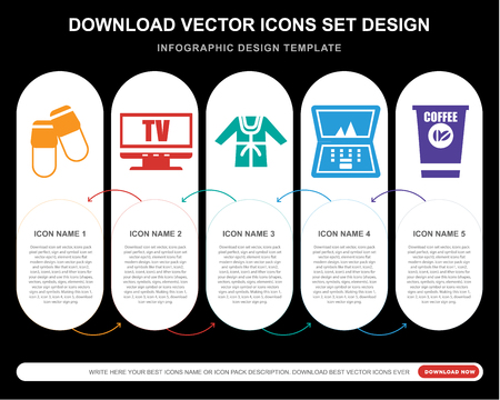 5 vector icons such as Slippers, Television, Bathrobe, Laptop, Coffee for infographic, layout, annual report, pixel perfect icon 스톡 콘텐츠 - 107021575