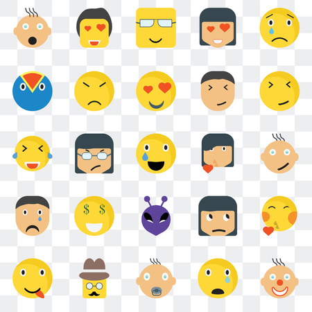 Set Of 25 transparent icons such as Clown smile, Happy Faint In love Angry Sceptic Laughing web UI transparency icon pack, pixel perfect 일러스트