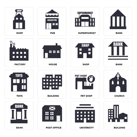 Set Of 16 icons such as Building, University, Post office, Bank, Church, Shop, Factory, Toys, web UI editable icon pack, pixel perfect