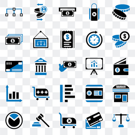 Set Of 25 transparent icons such as Justice scale, Cit card, Cart, Justice, Pie chart, Coin, Presentation, Graph, Notes, Atm, web UI transparency icon pack 写真素材 - 111886874