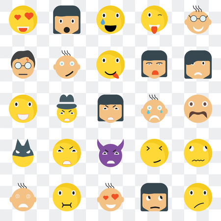 Set Of 25 transparent icons such as Sceptic smile, Hipster Sad Surprised Crying Happy Faint Laughing web UI transparency icon pack, pixel perfect Vettoriali